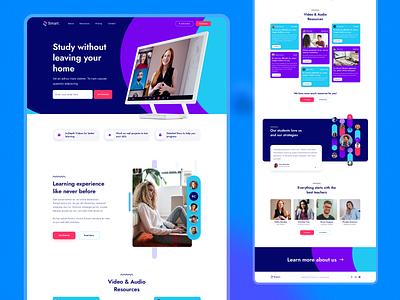 Online School (Home page) branding design ui teachers study blue colorful design trainings e-learning education courses online school school ui design product design web design