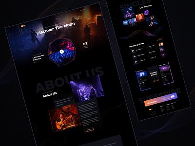 Moon-Music band website band event tour artist singer musicband music darkdesign darkui website ui design web design web