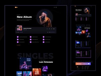 Moon- Discography Page music player song songer artist music band music dark design dark ui ux website design web design web