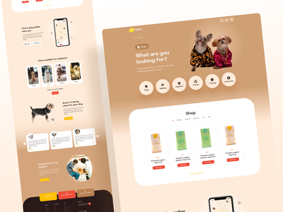 Petits - Category Page (Dogs) ux design ui design pet lover veterinary pet adoption playful figma sketch brown pet care petshop pet cats dogs category page