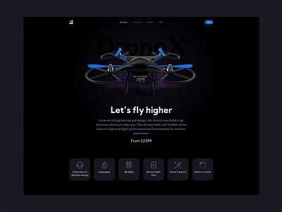 DroneX -  Landing Page innovation tech ecommerce uiuxdesign ui design productdesign product page shop page dark design landing page