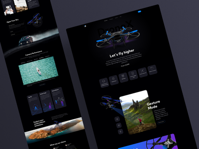 DroneX - Product Page figma sketch web website drones ecommerce shoping shoping page shopify landingpage ui design dark design inovation tech drone