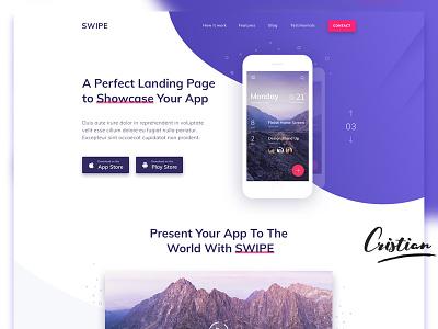 Landing Page for Your App illustration designer typography ui web design website design web playstore appstore showcase app webdesign landingpage