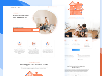 CrawlSpace Medic- Homepage family repairs home health illustration ux webdesign branding ui web design design web
