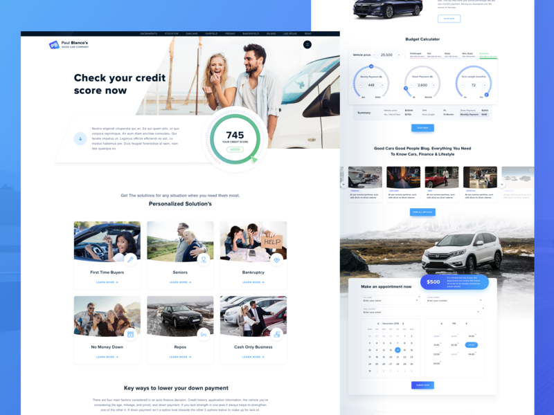 Car Dealer Credit Loan Page By Cristian99wd On Dribbble