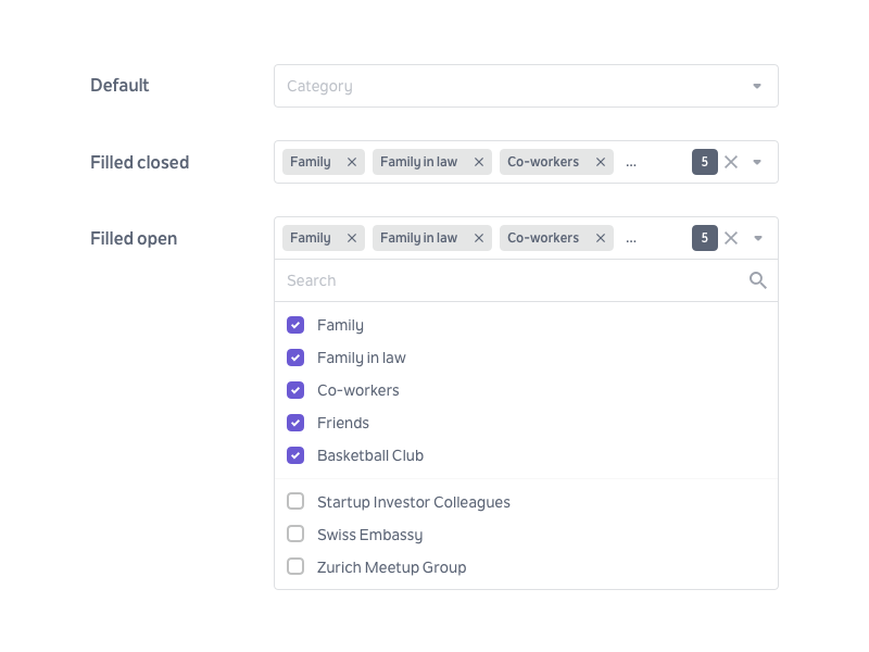 Multiselect Dropdown dashboard landing design ui clean formfield form multiselect dropdown menu dropdown inputfield input tags check box select box select forms flat swiss simple