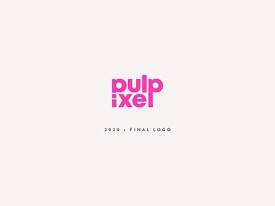 Pulpixel 2020 logotype modern stylish cool feminine minimal typography geometric sans serif pink lettering branding restyling logo