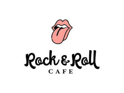 Rock & Roll Cafe red stacked rock and roll cafe lips mouth line art icon typography illustration lettering vector modern branding design logo