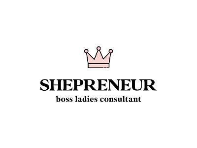 Shepreneur vector modern stacked boss lady consultant entrepreneurs female crown icon typography illustration lettering design branding logo