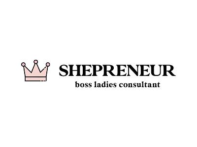 Shepreneur extended boss lasy consultant entrepreneur crown female icon typography illustration vector modern lettering branding design logo