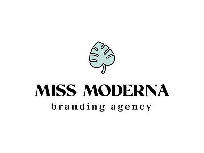 Miss Moderna stacked tropical monstera agency line art icon typography illustration vector modern lettering branding design logo