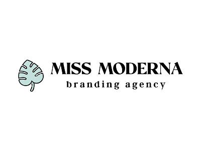 Miss Moderna extended line art tropical monstera agency icon typography illustration vector modern branding lettering design logo