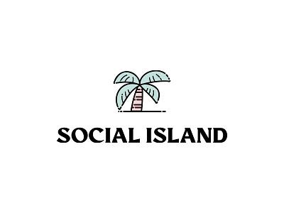 Social Island stacked social island palmtree palm icon illustration typography vector modern lettering branding design logo