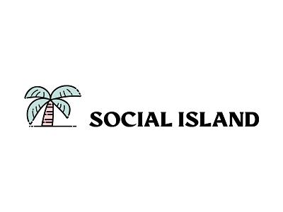 Social Island extended social island palmtree palm line art icon illustration typography lettering vector modern branding design logo