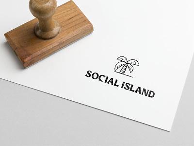 Social Island tree tropical stamp social island palmtree palm branding line art typography icon illustration lettering vector modern design logo