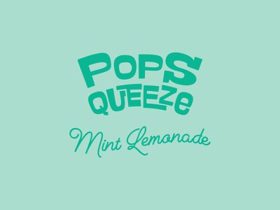 Popsqueeze Mint Lemonade - Logo lettering typography fun fancy pop modern palette color identity logo design logotype logo branding design branding brand design brand
