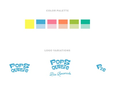 Popsqueeze - Logo Variations and Color Palette bio organic drink lemonades pop modern fancy fun typographic logo typography lettering palette color logo design logotype logo brand design branding design brand branding