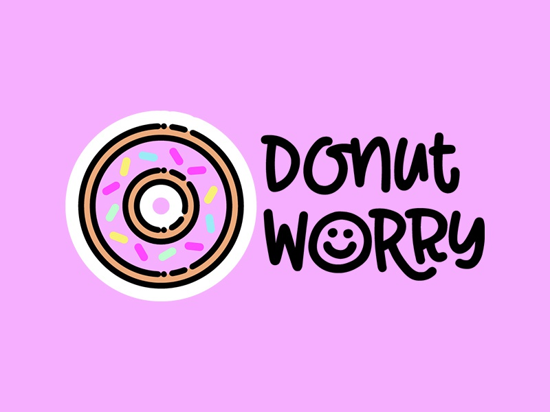Donut Worry line art line icon drawing hand-drawn lettering design illustration quote pink donut sticker icon