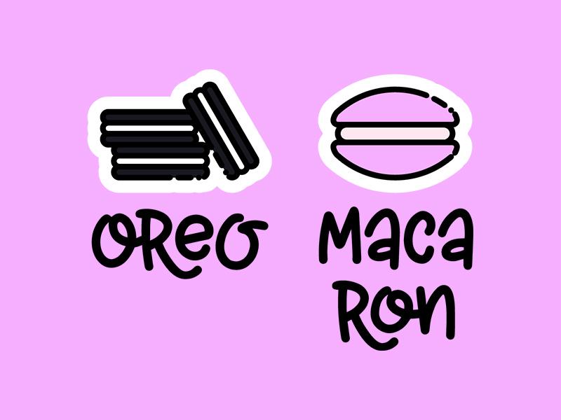 Oreo Macaron drawing hand-drawn lettering macaron oreo pink line art line icon illustration patch sticker icon