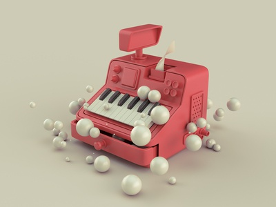 Red Piano key cash register
