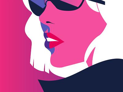Doble Agent — color vector illustration blonde glasess rayban spy
