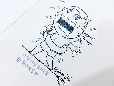 Roasted (Inktober 2018 - Day 3) roasted lunch pool miniihairaa ohmaiki maikicomics inktober2018 inktober
