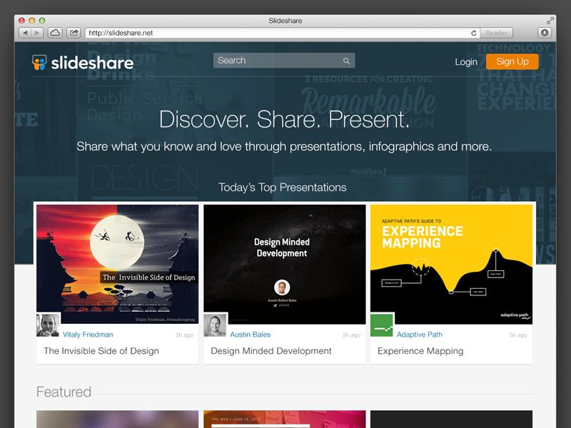 SlideShare homepage redesign slideshare deck presentation homepage