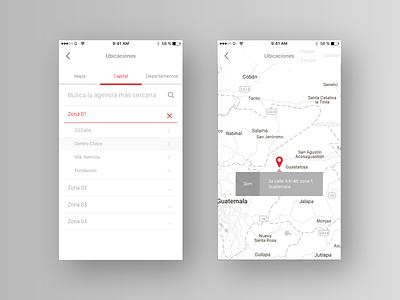 Banking App clean map locations banking bank minimal ux ui