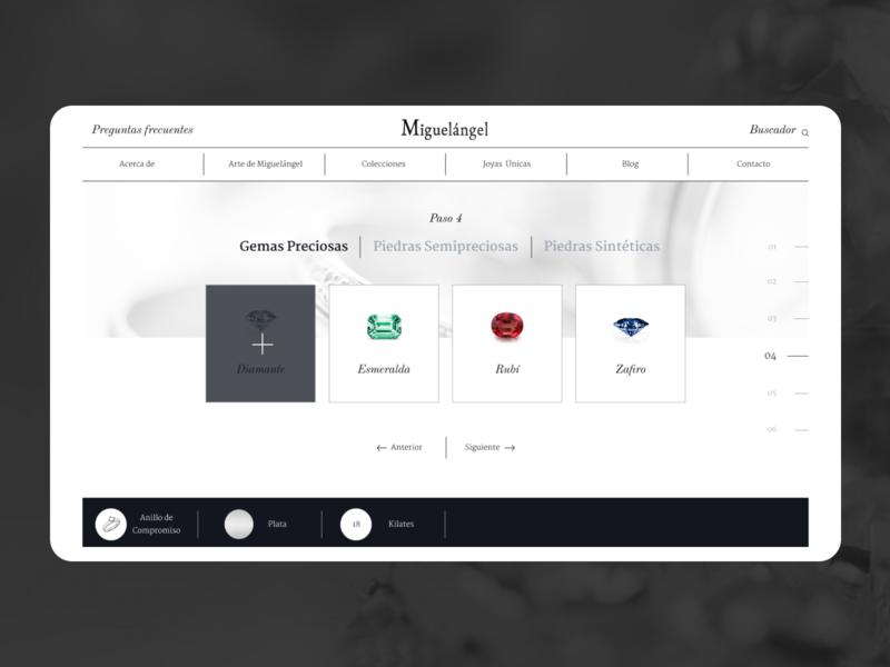 Joyas Miguelángel - Quote Page jewelry store jewelry shop desktop website digital typography guatemala web design ux ui minimal