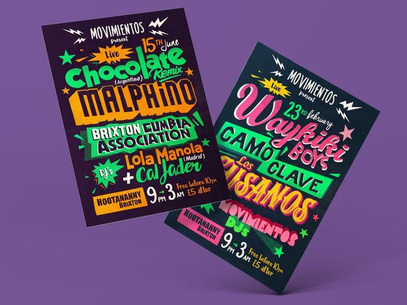 MOVIMIENTOS posters flyer music typogaphy art identity design illustration poster