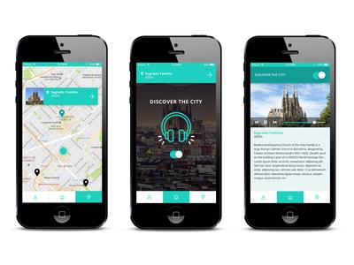 Wanderful Touristic guide app geoloc audio map touristic ux ui app