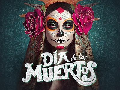 Dia de los muertos event logo poster art visual flyer