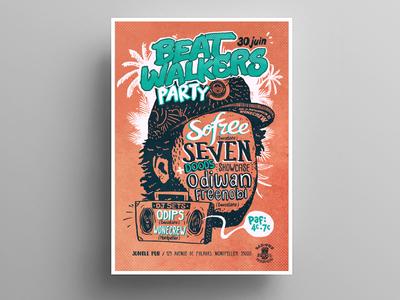 Beat Walkers poster font typo script rounded hiphop illustration dirty orange concert poster