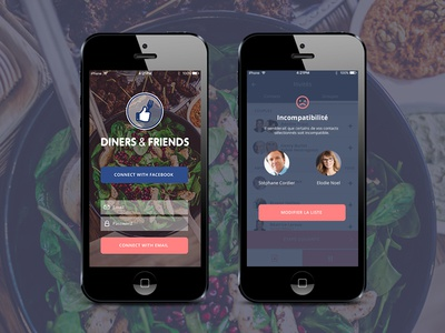 Diners and friends App design interface ui ux media social friends food diners app design