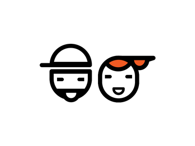 for him and for her orange fun line icons hipster fashion