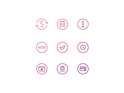 Line icons ? money calendar credit card wallet financial purple pink line icons