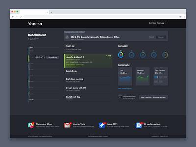 Yopeso time tracking dashboard dark theme interface web time tracking time dark theme dark ui  ux ui dashboard