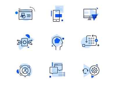Geometric inspired icons design ui geometric blue line icons icons icon