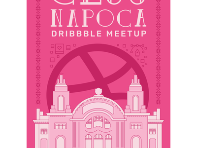 Cluj Napoca Dribbble Meetup building pink illustration sticker badge invitation poster lineart romania cluj-napoca cluj meetup dribbble