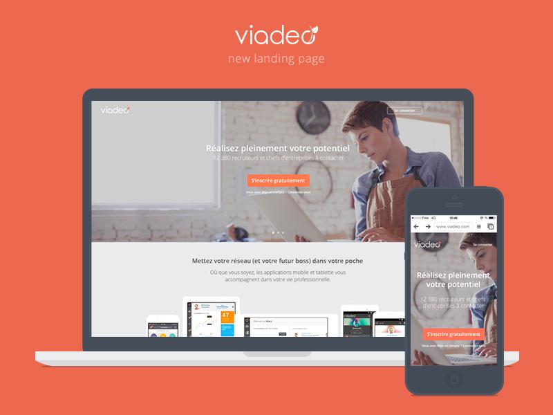 New Viadeo home minimalist clean responsive landing page home viadeo