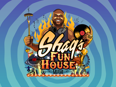 Shaq's House design funhouse shaq miami event print flyer illustrator