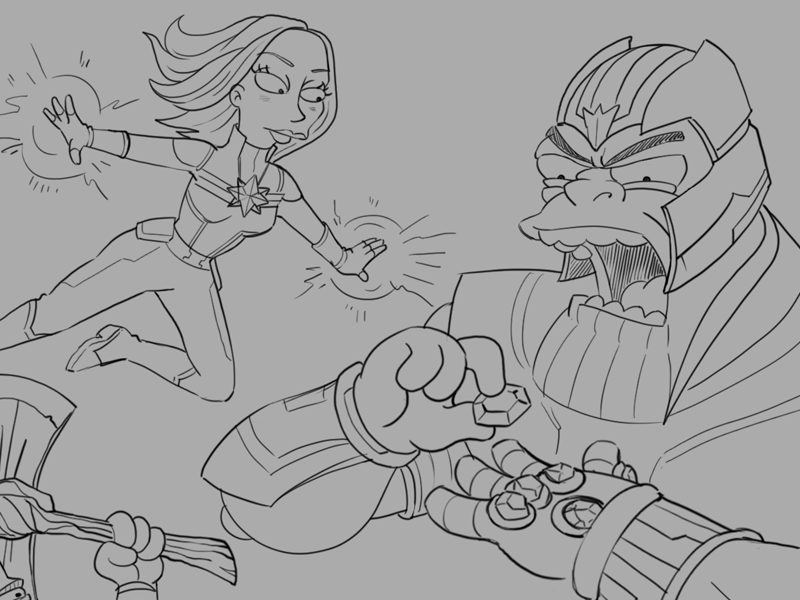 Simpsonized: Avengers detail drawing movie illustration