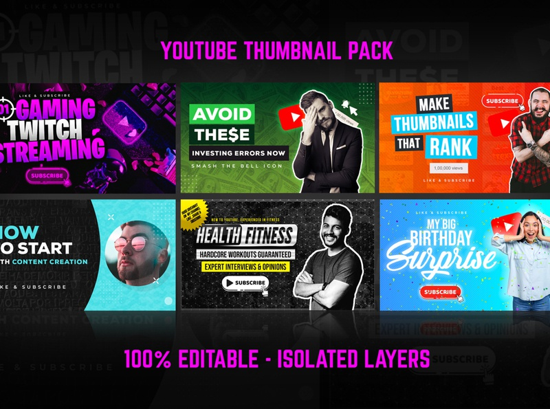Youtube Thumbnail Pack - 6 in 1