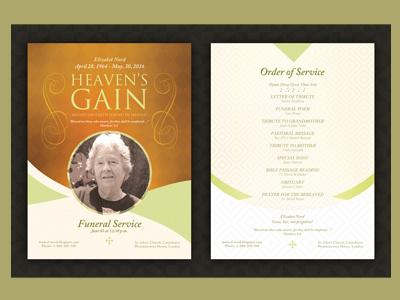 Heaven's Gain - Funeral / Memorial Program bulletin church eulogy funeral service home going memorial memorial service memorial template old orbituary order of service program sheet
