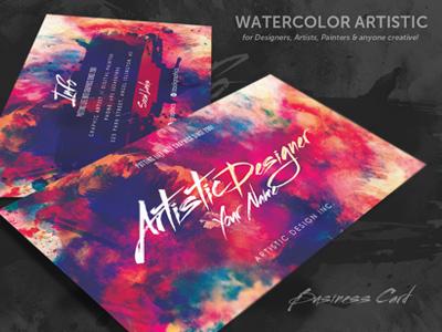 Watercolour Artistic Business Card watercolour business card creative business card visiting card graphic design designer business card