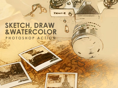 Sketch Draw Watercolour PS Action photoshop sketching effect insta sketch insta paint photo to watercolour photoshop effects cartoonize photo sketch sketching photoshop actions watercolour painting action photo to art photo to sketch
