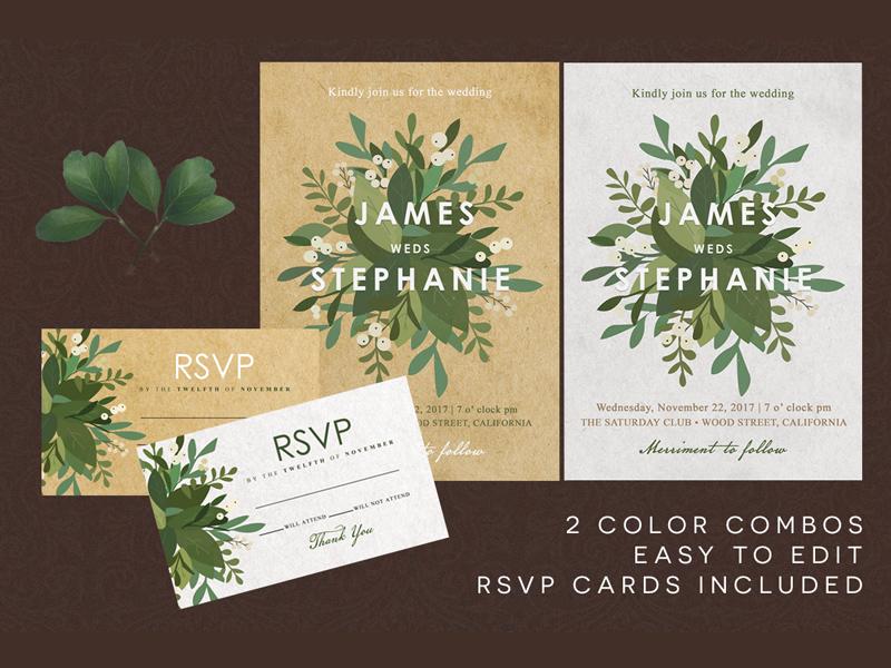 Minimal Floral Wedding Invitation elegant watercolor floral white green invitation modern minimal invitations classique card wedding