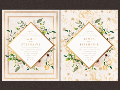 Floral Watercolor Wedding Invitation elegant texture watercolor floral white green invitation modern minimal invitations classique wedding