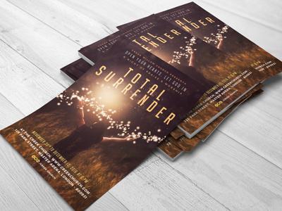 Church Theme Flyer - Surrender crucifix cross posters templates flyer church flyers christian christ celebrations burdens anxiety