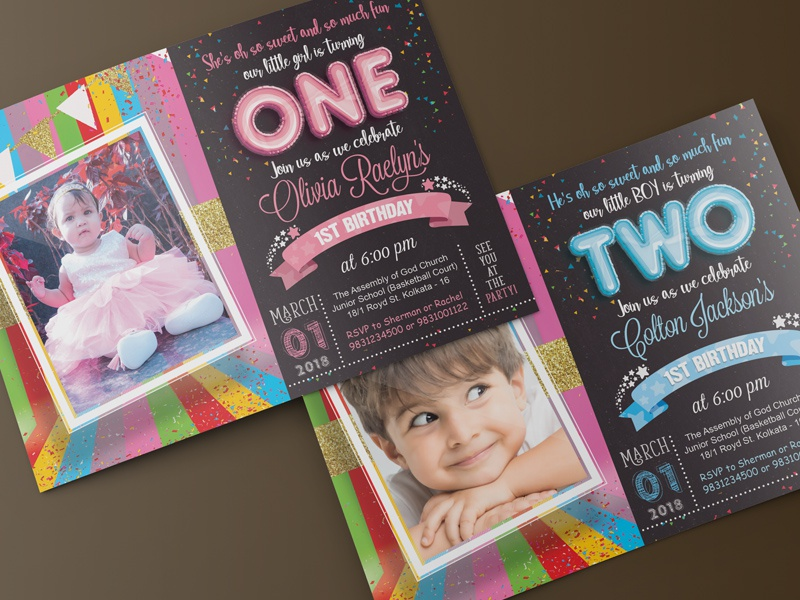 Kids & Baby Birthday Invitation graphic design celebration party invitation baby colorful bright happy one birthday kids